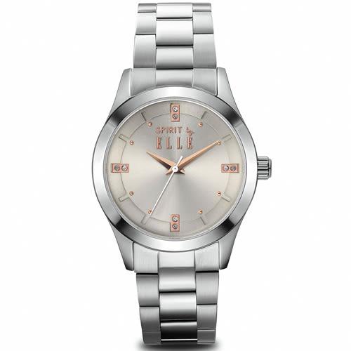 ELLE 晶鑽不鏽鋼時尚尖端腕錶 女錶 手錶-淡金/30mm