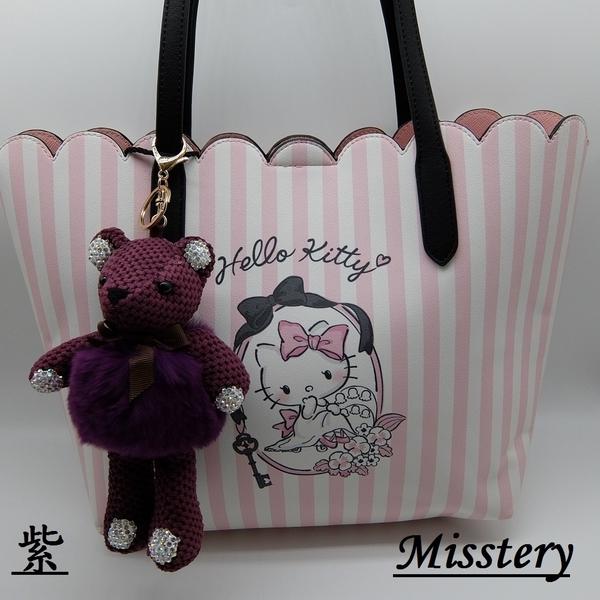 鑰匙圈水鑽熊狐狸毛吊飾-咖(Misstery) CH99-007PP
