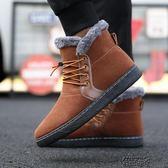 咖啡色鞋子男雪靴子短靴冬季潮二棉加絨加厚高筒長筒東北雪地靴 街頭布衣