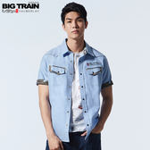 BigTrain加大出芽牛津素色襯衫-男-淺藍-2L.3L