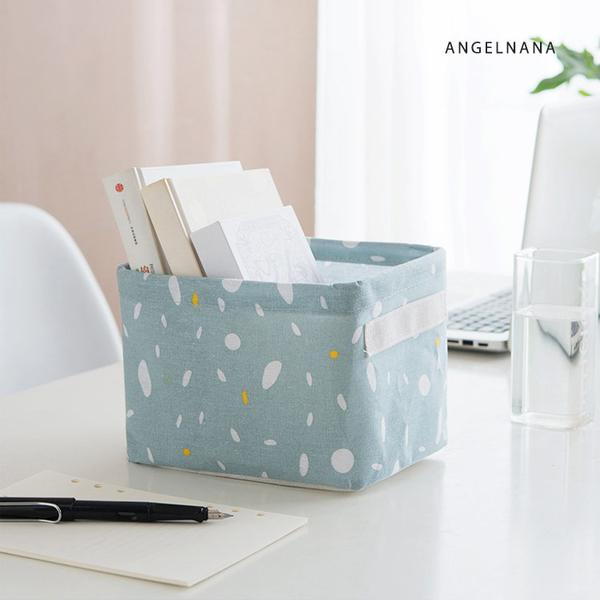 收納籃-棉麻桌面梳妝台化妝品辦公桌文具雜物衣櫥布藝小收納盒附手提 AngelNaNa SKA0008