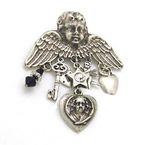 天使與小吊飾復古胸針
