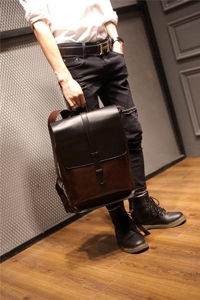 FINDSENSE品牌 韓國 新款  FIN韓國出品 包款 時尚 男士戶外雙肩 旅行包 復古 潮流