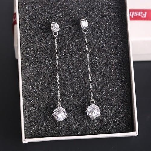 【NiNi Me】韓系耳環 氣質優雅誥石水鑽流蘇長款925銀針耳環 耳環 N0142