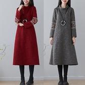闊太太秋冬大碼女裝中國風刺繡保暖夾絲棉保暖藏肉顯瘦打底洋裝 晴天時尚