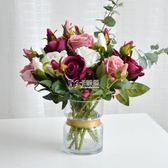仿真花 多頭玫瑰花束絹花塑料花假花干花擺件室內客廳餐桌擺設裝飾 卡菲婭