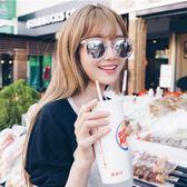 現貨-韓國ulzzang原宿潮流墨鏡貓眼框反光鏡面透明框箭頭太陽眼鏡 99