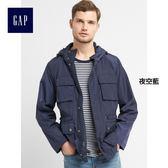 Gap男裝 時尚舒適休閒純色長袖外套 228404-夜空藍