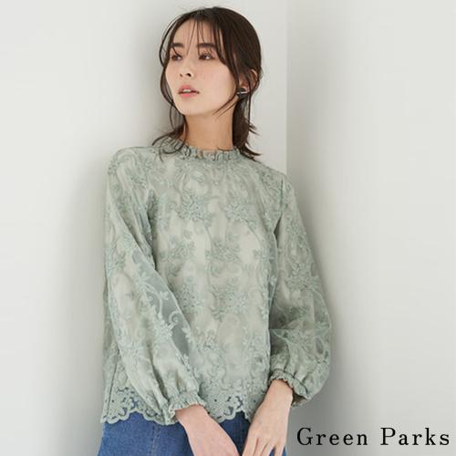 「Spring」透膚薄紗刺繡上衣 - Green Parks