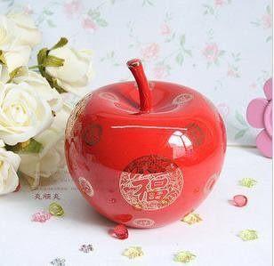 陶瓷 紅瓷蘋果 顏色釉 家居裝飾 工藝品 禮品瓷 禮物