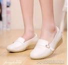 護士鞋白色護士鞋坡跟韓版防滑牛筋底女單鞋透氣軟底皮鞋秋冬季新款 大宅女韓國館