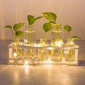 創意小夜燈玻璃花瓶水培植物小清新房間擺件客廳插花餐桌綠蘿容器    琉璃美衣