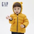 Gap嬰兒 可愛熊耳造型連帽拉鍊羽絨外套 592806-黃色