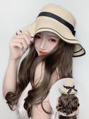 假髮帽子漁夫假髮帽子一體時尚女夏天韓版潮帶草帽長卷髮百搭網紅款小清新 韓國時尚週