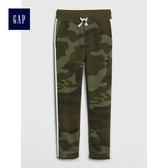 Gap男童 Logo印花抽繩鬆緊腰縮口褲 492877-綠色迷彩