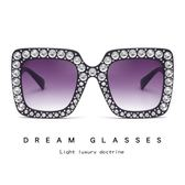 個性大框鑲鉆太陽鏡 歐美墨鏡 太陽眼鏡【五巷六號】y27