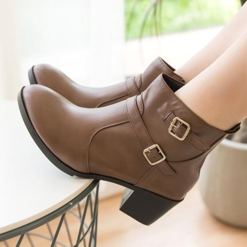 靴子.MIT雙扣環粗跟側拉鍊高跟短靴.白鳥麗子