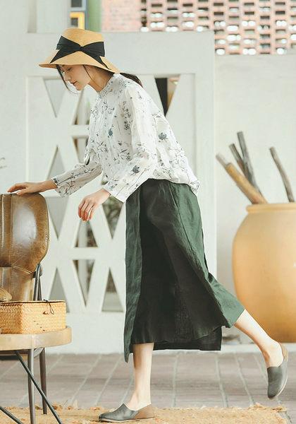 亞麻寬管褲裙寬鬆文藝/設計家 XK403