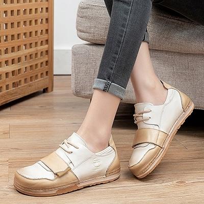 圓頭繫帶低幫平底鞋 拼接真皮透氣軟底鞋/2色-標準碼-夢想家-0226