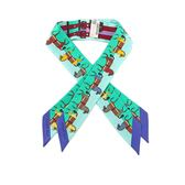 【HERMES】馬圖騰提把專用絲巾Twilly(一對)(綠色) HE75000123