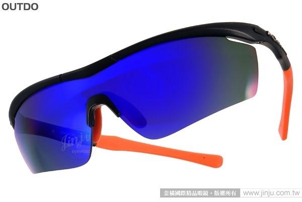 OUTDO 太陽眼鏡 TR9906 C1 (黑-橘) 防爆鏡片時尚水銀鏡面款 # 金橘眼鏡