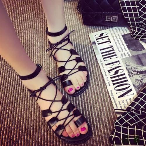 涼鞋 平底交叉綁帶羅馬鞋【aa494】【莎芭】—現貨