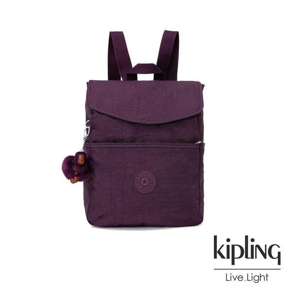 Kipling 深紫素面翻蓋後背包-TALMA