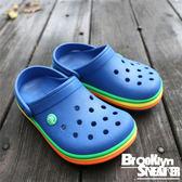 Crocs   寶藍 彩色底 涼鞋 童鞋 (布魯克林) 2017/11月 2052054GX