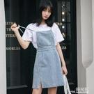 牛仔洋裝 夏裝洋裝女2021新款韓版寬鬆高腰顯瘦洋氣減齡小個子牛仔背帶裙
