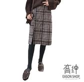EASON SHOP(GU9073)韓版撞色格紋下擺側開衩毛呢加絨收腰長裙女高腰顯瘦包臀裙修顯腿長格子半身裙