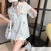 2021夏季新款女裝設計感小眾復古白色休閒工裝寬鬆襯衫短袖上衣潮 夏季新品