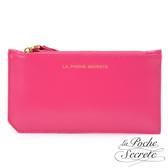 La Poche Secrete 簡約真皮實用卡夾零錢手拿包-甜美桃