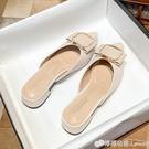 包頭半拖鞋女粗跟年新款夏季百搭半托單鞋低跟穆勒尖頭涼拖鞋 檸檬衣舍