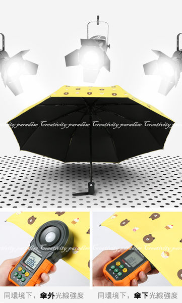【小熊自動傘】一鍵開啟防紫外線遮陽抗uv黑膠單鍵摺疊防曬晴雨高密度傘布折疊傘 賣萌小熊甜點