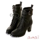 amai可調式皮帶繞踝綁帶個性高跟踝靴 黑