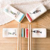 春季上新 日式釉下彩陶瓷筷子托廚房用品 創意手繪鯉魚筷托家用筷枕筷子拖