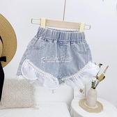韓版女童熱褲薄款2021夏季新款時尚珍珠花邊甜美牛仔短褲休閒褲潮 快速出貨