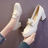 復古皮鞋英倫風小皮鞋女新款春秋鞋子復古方頭高跟單鞋粗跟一腳蹬樂福鞋 JUST M
