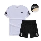 M-跑步運動套裝男健身短袖T卹晨跑速乾運動衣寬鬆五分短褲夏季服裝