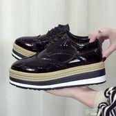 英倫風女鞋zipper軟妹小皮鞋春季新品布洛克女厚底鬆糕鞋單鞋好康免運
