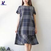 【早秋新品】American Bluedeer - 長版格紋洋裝(魅力價) 秋冬新款