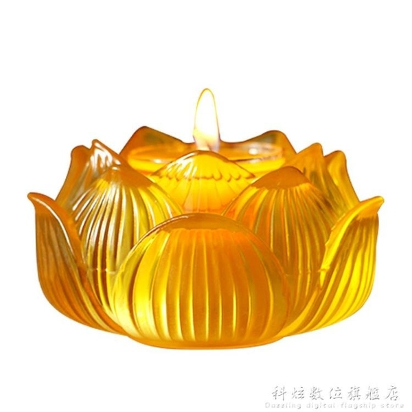 七彩琉璃蓮花八吉祥酥油燈座燭台燈架佛教用品供佛貢奉蠟燭台擺件中秋特惠