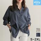 【V3394】shiny藍格子-港風輕熟.文青質感翻領條紋長袖襯衫
