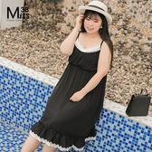 Miss38-(現貨)【A06708】大尺碼吊帶洋裝 中長版 蕾絲花邊拼接 黑色細肩吊帶裙 收腰顯瘦-大尺碼女裝