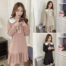 VK精品服飾 韓系時尚甜美減齡花瓣領百褶寬松長袖洋裝