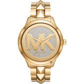 Michael Kors Runway 經典大LOGO晶鑽手錶-金/44mm MK6714