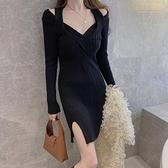 長袖洋裝 簡約韓風長袖針織連身裙女冬季新款正韓氣質修身內搭打底包臀短裙-Ballet朵朵