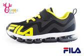 FILA男童運動鞋 全氣墊 反光系列 慢跑鞋N7629#黑黃◆OSOME奧森童鞋