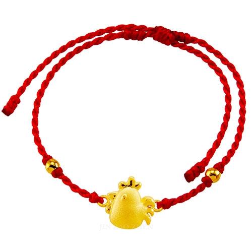 甜蜜約定金飾-好運12生肖-雞-紅繩黃金手鍊