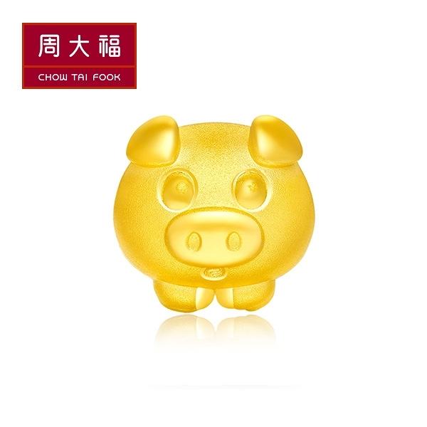 幸福小豬黃金路路通串飾/串珠 周大福 萌Q生肖系列